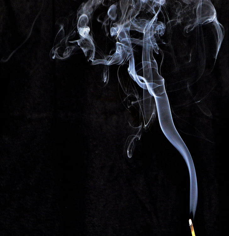 smoke, incense, smoke - physical structure, black background, no people, abstract, studio shot