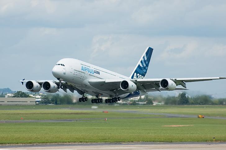 Airbus, A380, lentokone, Jet, kiitotien, lento, ilmailun