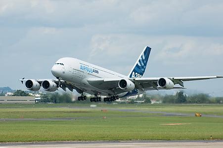 Aerobús, A380, avió, motos, pista, vol, l'aviació