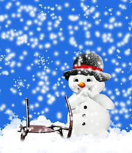 zimné, sneh, mrazivé, sneh muž, snímka, sneženie, klobúk
