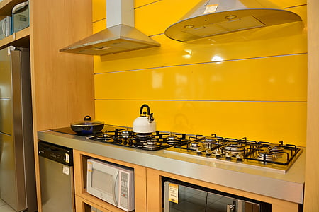 ห้องครัว, เครื่องเขียน, สีเหลือง, เตา, ห้องครัวภายในประเทศ, เครื่องใช้ไฟฟ้า, ทันสมัย