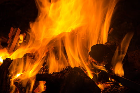 foguera, foc, fusta, flama, barbacoa, llar de foc, brases