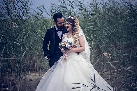 adult, bridal, bride, couple, dress, engagement, girl