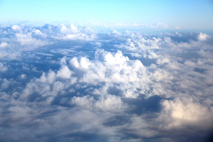 облака, небо, Голубой, белые облака, Горизонт, тучи