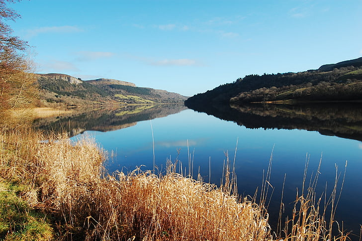 Danau, tenang, gambar cermin, langit, biru, air, diam