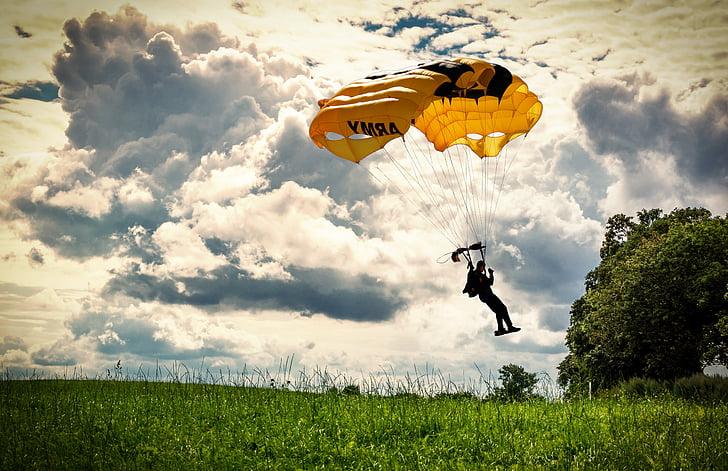 ejtőernyős, természet, idilli, táj, siklóernyőzés, ejtőernyős