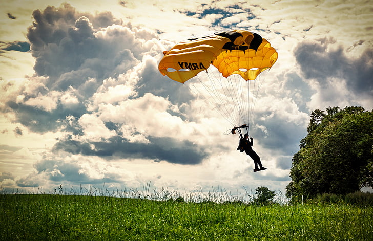 paracaigudes, natura, idíl·lic, paisatge, parapent, paracaigudista