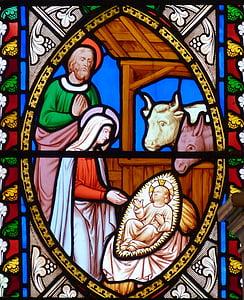 Crkva, Božić, Dječji krevetić, Marija, Isus, Josef, vo