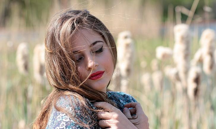 djevojka, portret, plavuša, priroda, ljepota, zavodljiv