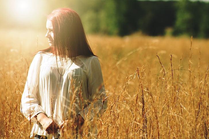 meitene, glīts, ārpus telpām, portrets, ārpus, lauks, daba