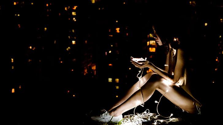fosc, il·luminat, llums, persona, en solitari, dona, adults només