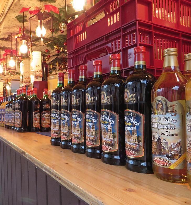 anggur merenungkan, pasar Natal, botol, Nuremberg, alkohol, minuman, botol