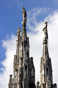pinnacle, cathedral, milan, sculptures, gothic, architecture, church