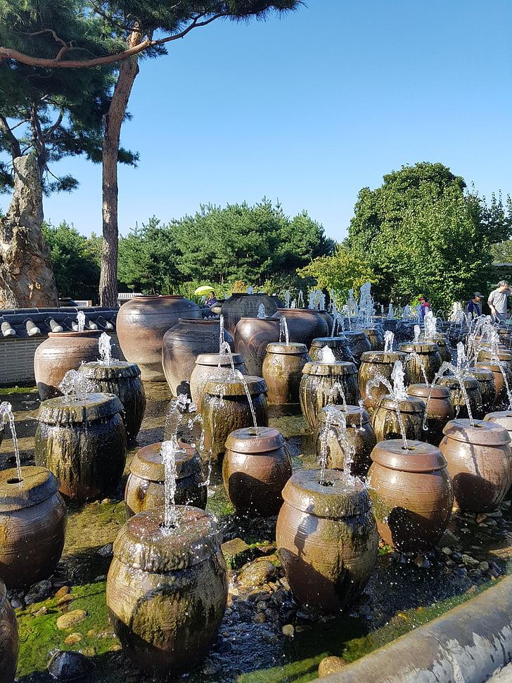 two water head, jar fountain, two jar water fountain