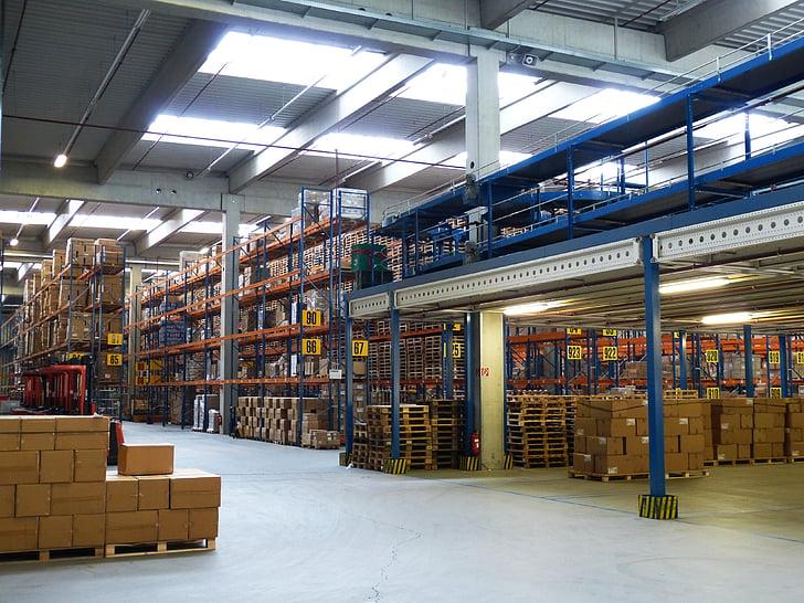 factory, industrial hall, logistics, trade, transport, stock, shelf