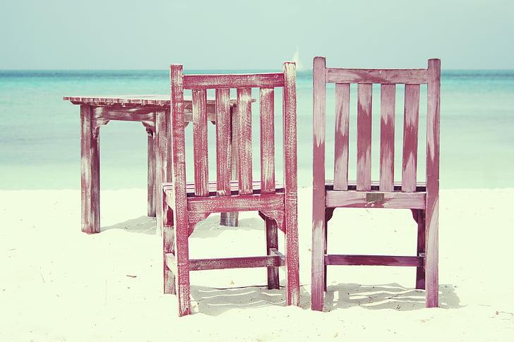 beach, chairs, sun, sea, summer, holiday, rest