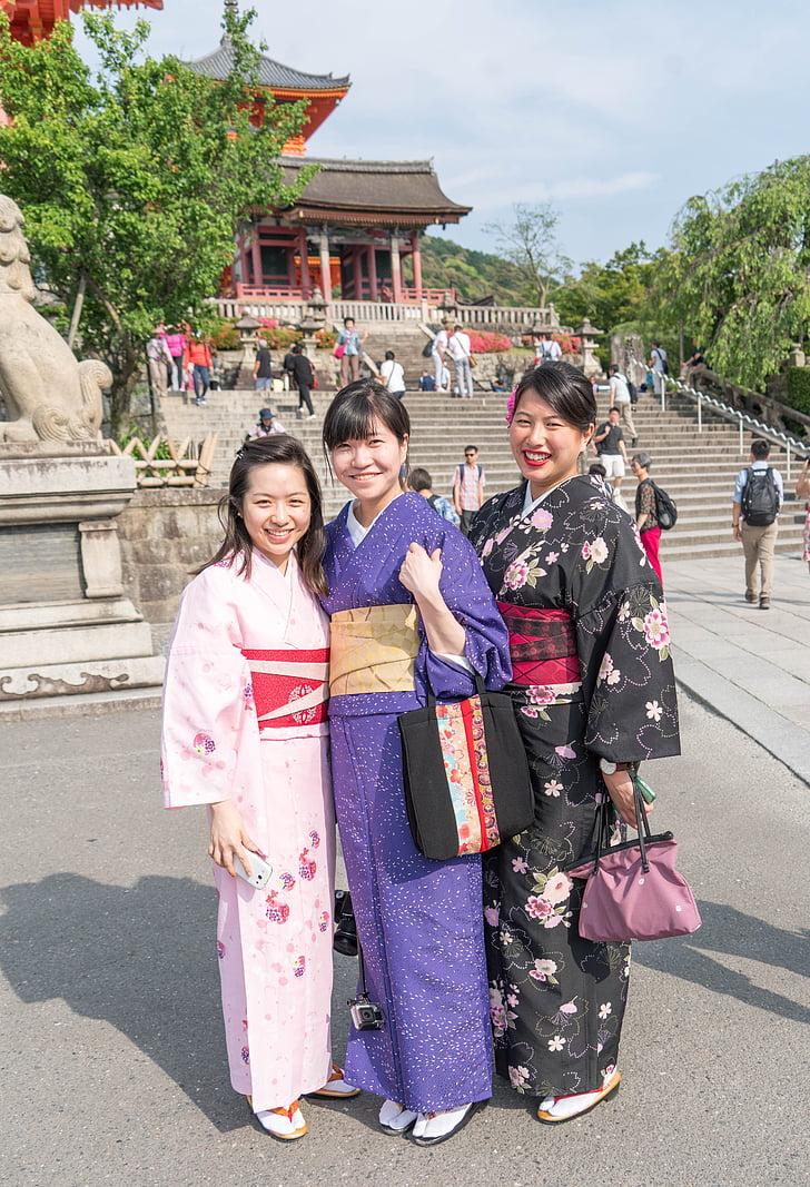 Japonia, kimono-uri, fete, femeie, Templul, femei, oameni