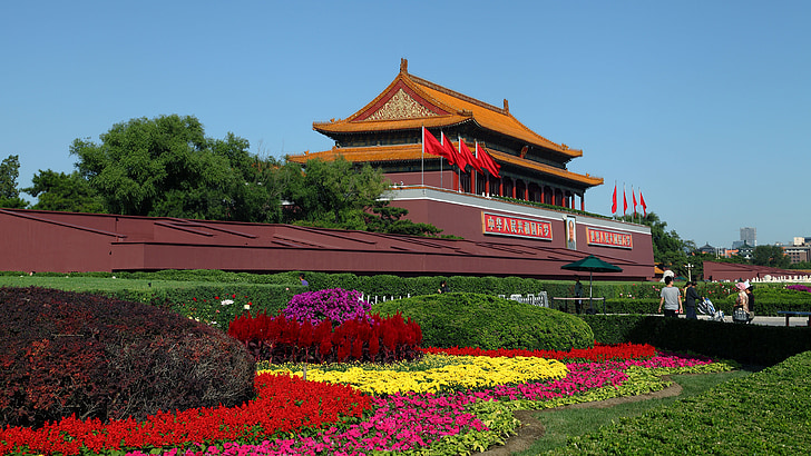 beijing, tiananmen square, national day, the scenery, building