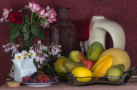 mrtva priroda, cvijeće, ruža, voće, jabuka, dinja, voće
