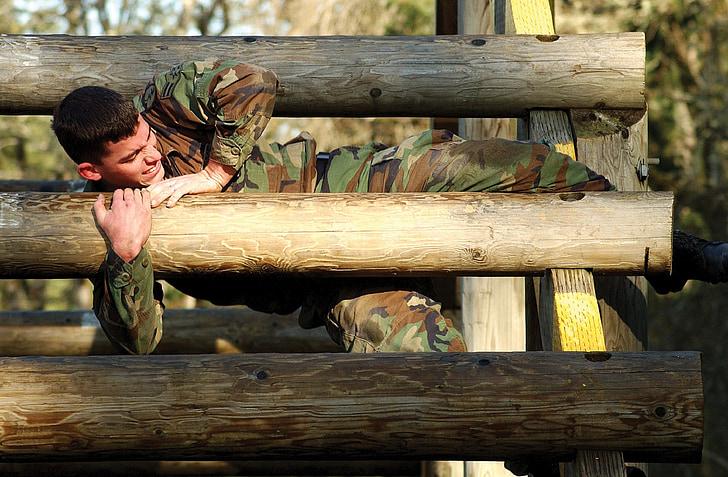 soldat, obstacle, curs, militar, mascle, escalada, registres