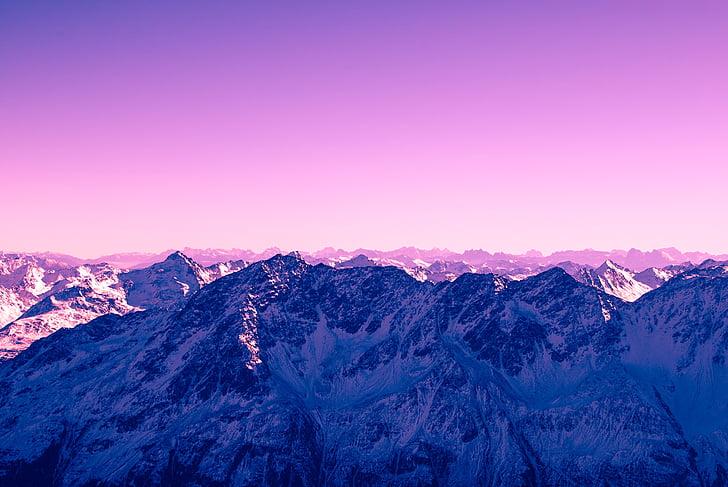 paisagem, foto, montanha, cobertos, neve, pôr do sol, Cimeira