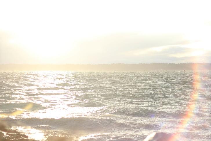 blue, body, water, sunrise, sun rays, sunshine, summer