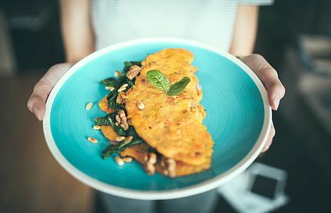 ploča, jaje, omlet, hrana, doručak, ručak, večera