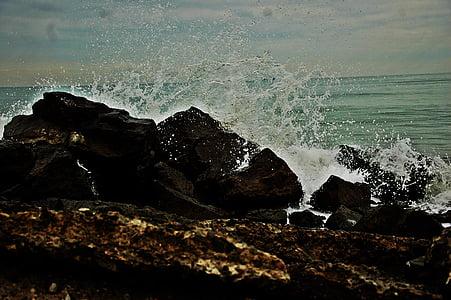 strand, Rock, golven, zee, natuur, Golf, Rock - object