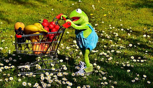 Kermit, kupovina tegliti, zdrava šoping, voće, povrće, banane, breskve