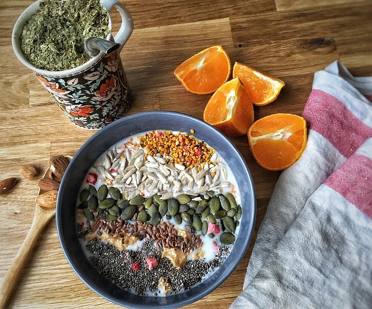 taronja, farinetes de sègol, llavors, musli, vegetariana, Nutrició, benestar