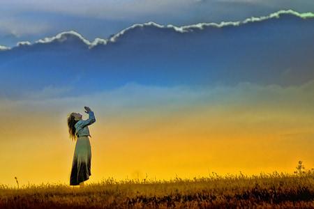 sunset, girl, worship, field, prayer, nature, sun