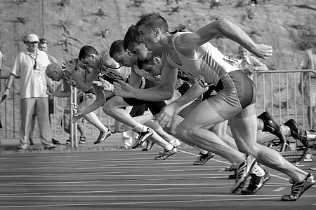 athletes, athletics, black-and-white, competition, course, fitness, lane