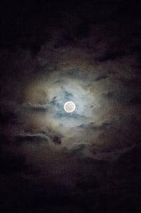 luna, noč, nebo, oblaki, na prostem, scensko, mirno