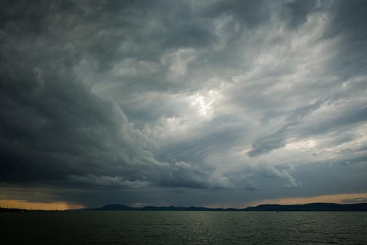 Lago balaton, Lago, água, paisagem, Verão, nuvens, Hungria
