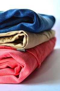 衣服, 裤子, 服装, 堆栈, 粉色, 蓝色, 牛仔裤