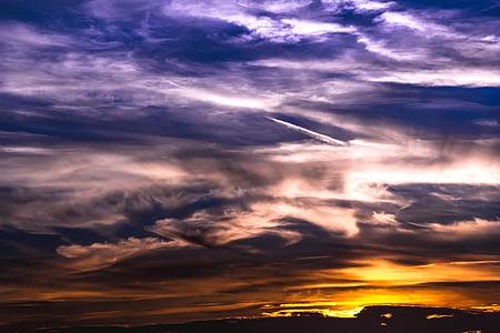 sunset, sky, clouds, bright cloud, dark clouds, clouds form, covered sky