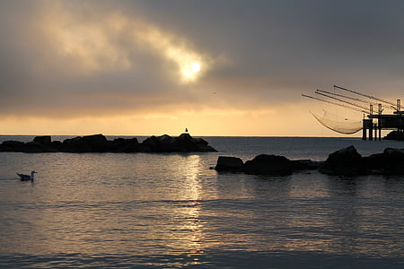 sunrise, sea, morgenstimmung, nature, italy, adriatic sea