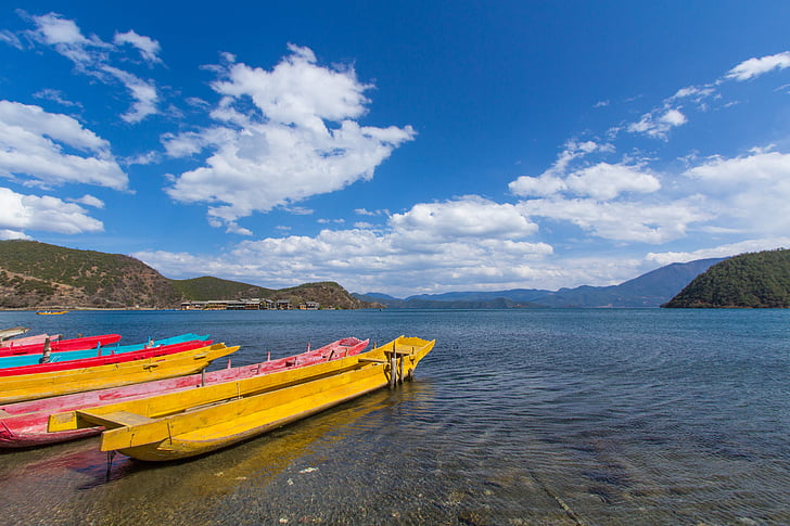 lugu lake, lake, wooden boat