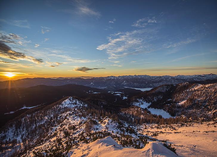 Dawn, skymning, landskap, Mountain, naturen, Utomhus, natursköna