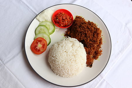 Nasi, Ayam, penyet, arròs, aliments, indi, cuina