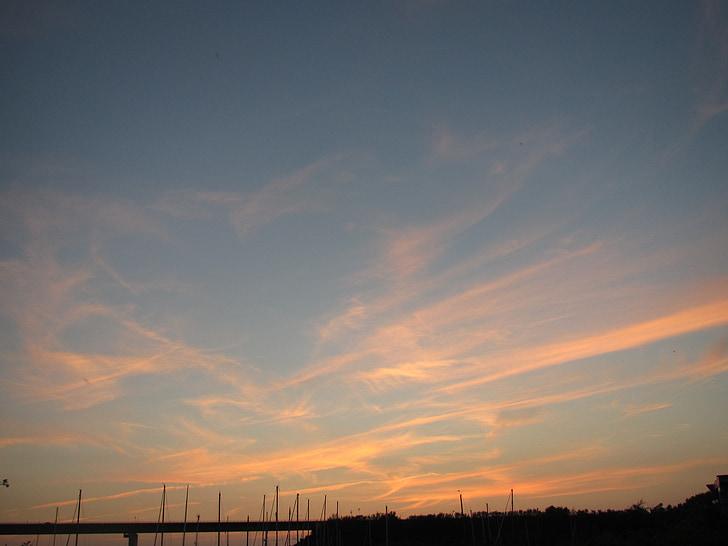 νυχτερινό ουρανό, διανυκτέρευση, abendstimmung, πορτοκαλί ουρανό, το βράδυ, στη θάλασσα, Παραθαλάσσιο