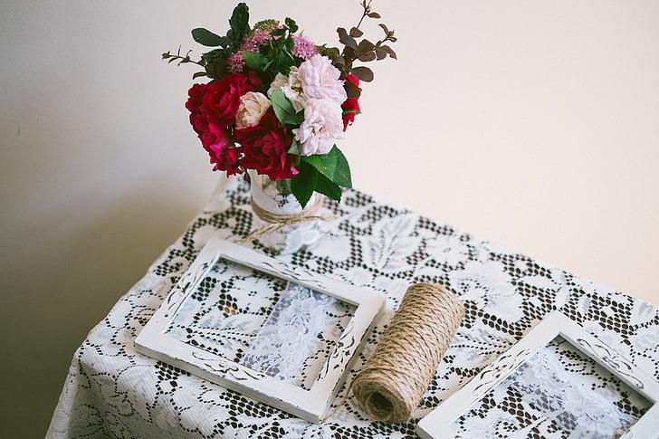 fleurs, cadres photo, ornement, maquette, décor, cadre photo