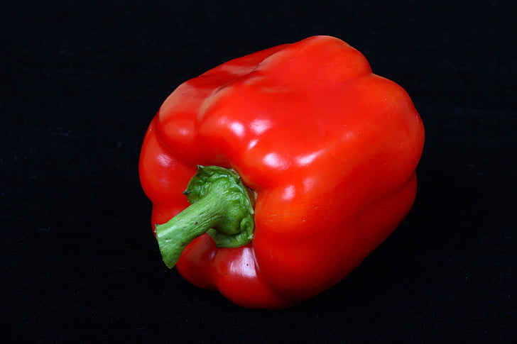 riped, röd, Bell, peppar, vegetabiliska, paprika, svart bakgrund