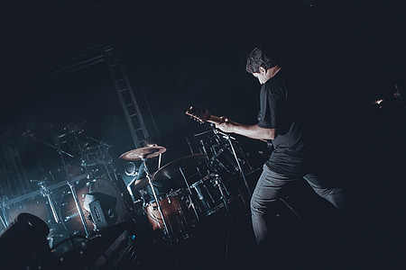 hostil, banda, Roca, guitarra, Mostra el, música, llum