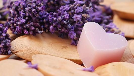 Lavanda, srce, drvo, sapun srce, Čestitka, ljubav, romantična