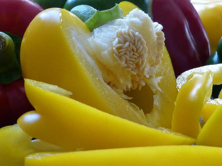 Makro, Sulgege, paprika, köögiviljad, kollane, Makro fotograafia, tuuma