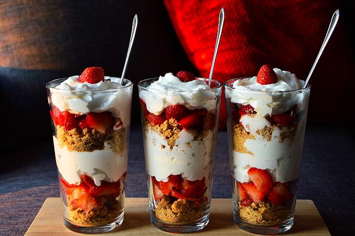 crème, dessert, verre, fraises, Sweet, crème fouettée, Yummy