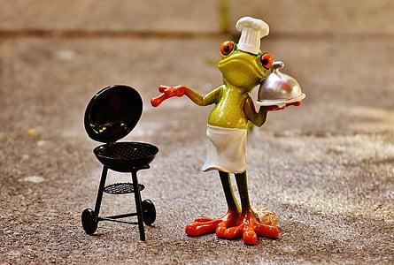 granota, cuina, graella, figura, divertit, barbacoa, barret de cuiner