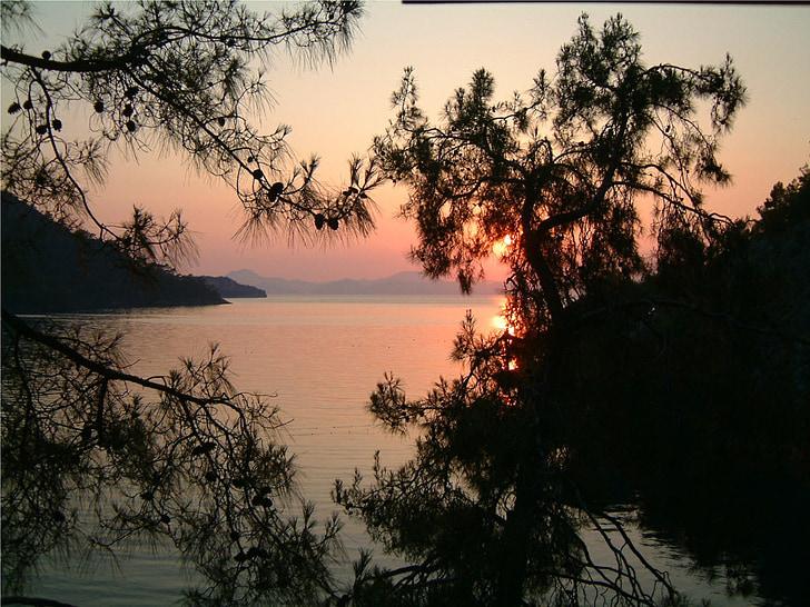 pôr do sol, céu da noite, arrebol, Turquia, mar, férias, riviera turca