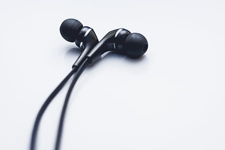 black, grey, earbuds, earphones, cord, music, white background